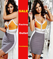 New Arrivals ORANGE & GREY Patchwork BANDAGE celebrity dresses HL-402