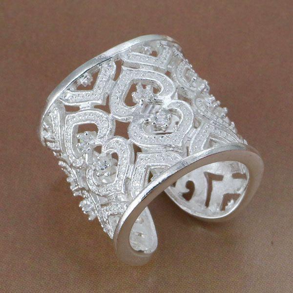 R106 Size: Wholesale 925 silver ring, 925 silver fashion jewelry, Inlaid Multi Heart Ring-Silvery-Opened /besajvzasn(China (Mainland))