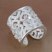 R106 Size: Wholesale 925 silver ring, 925 silver fashion jewelry, Inlaid Multi Heart Ring-Silvery-Opened /besajvzasn