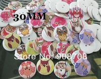 50PCS/lot 30mm  Cartoon Owl Pattern Wood Eco-friendly 2 Holes Mixed Colors
