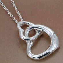 P007 fashion jewelry chains necklace 925 silver pendant Double love fall /bjbakaiasr