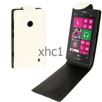 New Arrival Texture Mobile Phone Vertical Flip Up and Down Leather Case for Nokia Lumia 520 White