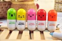1000pcs/lot_Hot sale novelty pen_Cute Smiling Face vitamin Pill BallPen Telescopic Vitamin Capsule Ballpen, gift pen