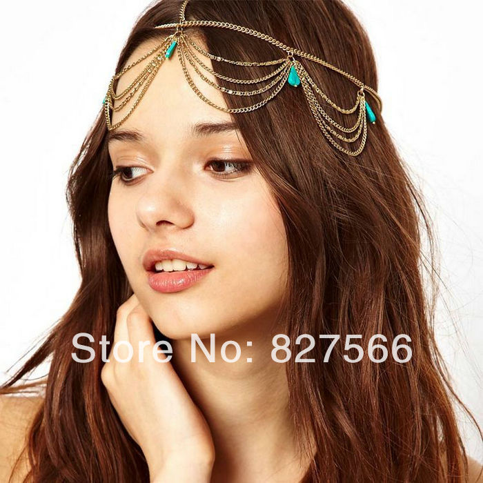 A00026 Free Shipping Wholesale Price Fashion Hair Jewlery Party Punk Alloy Ear Hanging Rivet Shape Tassel Golden Hair Combs(China (Mainland))