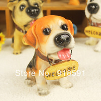 Free shipping (6 pieces/lot) Household creative gifts resin crafts mold simulation animal ornaments medium dog brand cute