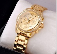 New 2013 Beauty table fashion steel strip bracelet watch Women student watch fashion table gold