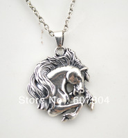 Fashion antique silver plated bust horse pendant link chain necklace,10pcs a lot,free shipping