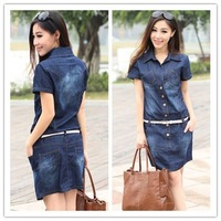 XXXXL 4XL 2014 New fashion Summer Short sleeve Button Slim Thin Denim Dresses Womens Plus Size One-piece Lady women dress 303S