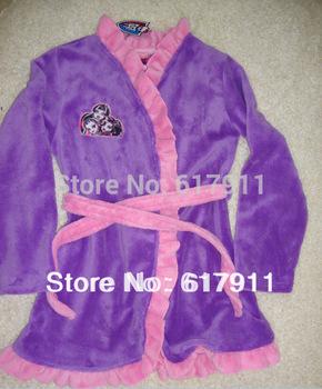 wholesale 2014 Winter Monster High girls purple dressing gown night gown nightgown sleepwear pajamas pyjamas pjs gills nightwear