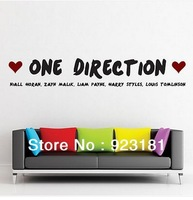 Free Shipping Large One Direction 1D Wall Stickers WALL DECAL Decoration Wall Plastic Removable Bedroom Stickers(130x 22cm)