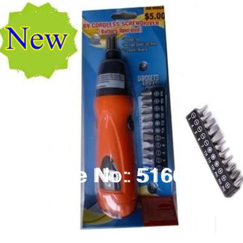 New Electric screwdriver Cordless Drill 6V + 11pcs Screwdriver bit set Household DYI Tools Free shipping(China (Mainland))