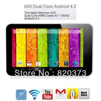 freeshipping cheapest 7inch A20 allwinner dual core android4.2 ARM Cortex-A7 Dual-Core dual camera 512M 4GB android tablet pc