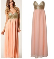 Free shiping  two color NEW ARRVIAL  PLEATED MAXI SEQUIN BUSTIER DRESS BNWT PEACH CORAL PINK