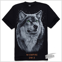 Men's T shirt 3D Wolf Print T Shirt Short Sleeve Brand Tops M~4XL Big Size Cotton Tees