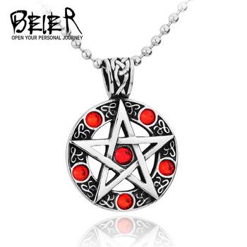 Cheap Fashion Pendants 2014 Cool Necklaces For Men Women Trendy Hexagram Blue/Red Crystal Pendant BP1012