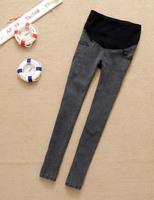 autumn winter adjustable warm grey  maternity skinny small foot jeans pregant woman pants  pencil pants belly pants