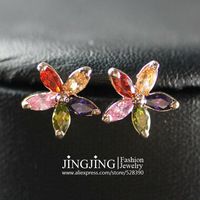 E054 Multicolour Wintersweet 18K K Gold Plated Stud Earrings Jewelry Made with Genuine SWA ELEMENTS Austrian Crystal Wholesale