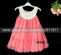 Girls Summer Dress The Doll Vest Dress Girls gauze dress Kids Beads Chiffon Petti Dress 5 Pcs 4-9 Years Free Shipping
