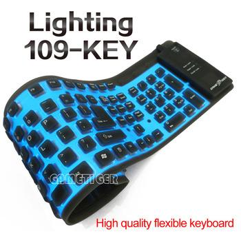 USB silicone keyboard with EL cold light, foldable, waterproof and dustproof keyboard,USB flexible keyboard W/ EL light,109-key