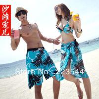 Honeymoon Bikini Set Couples Beach Wear Whole Sale Pirce 4pcs/Set Free Shipping Bikini/Covers-UP/Man Shorts