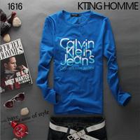 Male men's clothing boys letter slim 100% cotton long-sleeve T-shirt men's teenage t shirt