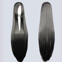 High Quality 100cm Long black straight cosplay anime Sengoku Basara-Akechi Mitsuhide long cosplay wig