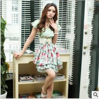 Free Shipping 2014 spring and summer new women dress sweet princess temperament Slim short sleeve dot flounced chiffon dress