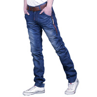 Summer paragraph zipper male jeans pants water wash denim blue slim jeans male fashion trousers