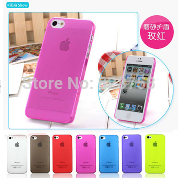 0.5mm Ultra Thin Slim Frosted Matte Clear Transparent Cover Case For iPhone 5 5G 5S 20pcs/lot=10pcs Case +10pcs Screen Protector