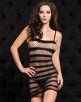 Sexy costumes suits open crotch one piece fishnet body open bra netting horizontal stripe mesh perspectivity