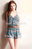 Summer women's bohemia color block print halter-neck jumpsuit A13737