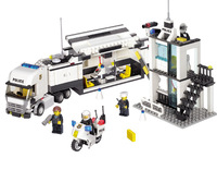 Police Truck Police Station Building Block Sets Model Educational DIY Bricks Toys For Children Kazi 6726 6727