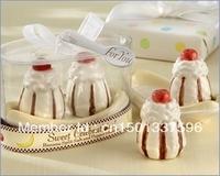 "New arrival 8pcs/lot Wedding Favor ""Sweet Celebrations!"" Ceramic Banana Split Salt and Pepper Shakers"