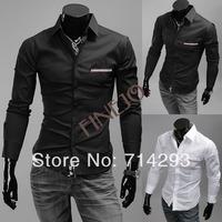 2013 New Fashion Men's Shirt Stylish Casual Long Sleeve Shirts Lapel Collar 2Colors M/L/XL/XXL 16141