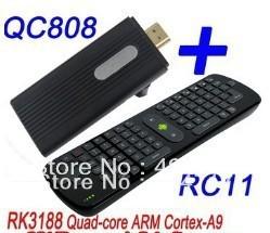 Quad Core RK3188 Cortex-A9 1.8GHz andorid 4.2.2 jelly Bean 2G/8G mini pc Bluetooth WiFi HDMI QC808 + RC11 keyboard mouse