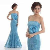 Evening dress 2013 mermaid design long dress formal dress paillette Bridal Gown Vestido De Novia