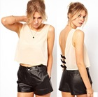 New Arrival Beige Pullover Vest Women Summer Black Bow Back Chiffon Sleeveless Tank Tops 2013(China (Mainland))