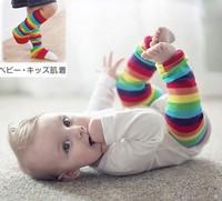Lovely 100% cotton autumn andwinterchildren leg warmers&kneelet rainbow stripe children's leg warmers wrist children socksretail