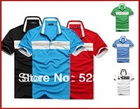 2013 New  Men's Polo short chest stripe embroidered sleeve  shirt causal slim-fit shirt Men  Shirt factory  ML XL XXL