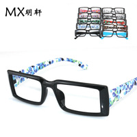 Free Shipping Wholesale Korean fashion wave packet flower black square frame glasses Men narrow -framed glasses x2513