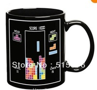 Free shipping Tetris is Color Changing Cup Amazing Ceramic Cup Tea Mug Cup Senstive Hot Cold Heat office cup Coffee Cup