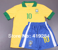 New 13/14 NEYMAR JR #10 Soccer Jerseys Children Suit, Best Quality Brazil Home / Away Youth Soccer Uniforms + Free Shipping.