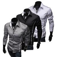 Free Shipping 2015 New Mens Shirts Casual Slim Fit Stylish Hot Dress Shirts Color:White,Black,Winered Size:L-XL-XXL