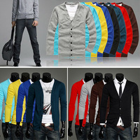 Hot Sale 7 Colors Men Long Sleeves Knitwear Slim Fit V-neck Cardigan Sweater 4 size MF-101