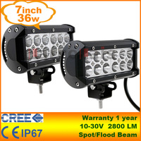 "2pcs 7.5"" 36W Cree LED Work Light Bar Lamp Tractor Boat Off-Road 4WD 4x4 12v 24v Truck SUV ATV Spot Flood Super Bright"