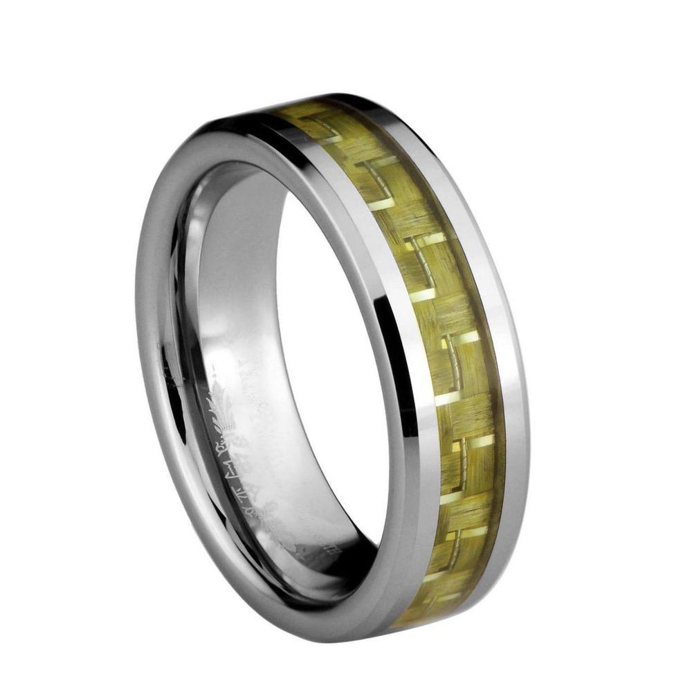 Yellowy e prata fibra de carbono Inlay carboneto de tungstênio largura de banda de 6 mm / TURI0023M(China (Mainland))
