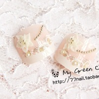 2013 New Princess Cream Shallow Pink 3d Carved Lace Toe False Nail,Free Shipping