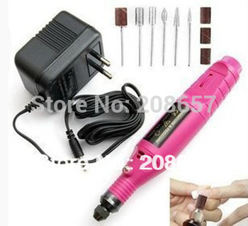 New Mini Pink Pen Shape Electric Nail Drill Art Tips Machine Manicure File Polish Tool