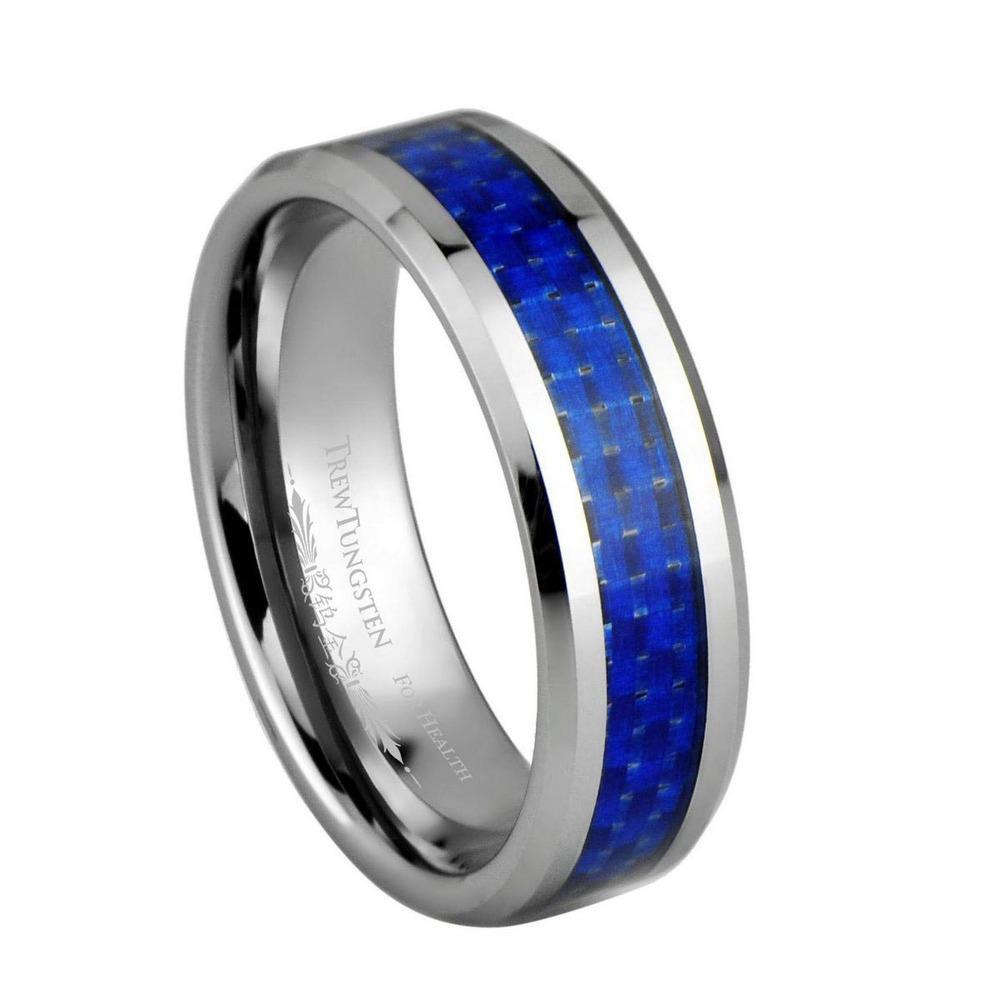 Azul marinho fibra de carbono Inlay tungstênio largura de banda de 6 mm / TURI0022M(China (Mainland))