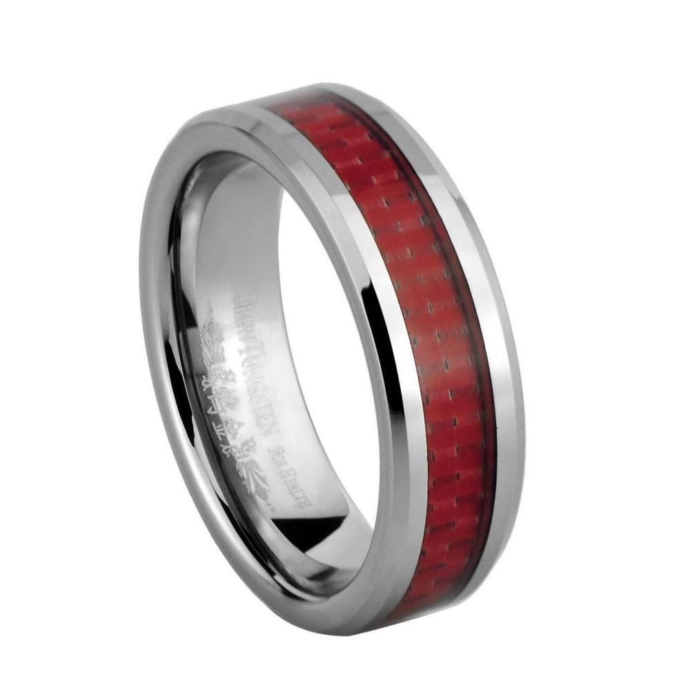 Red fibra de carbono Inlay tungstênio largura de banda de 6 mm grave Customize Super Deal casal anéis / TURI0026M(China (Mainland))